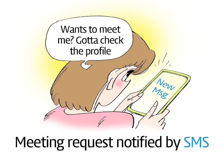Meeting request notified by sms